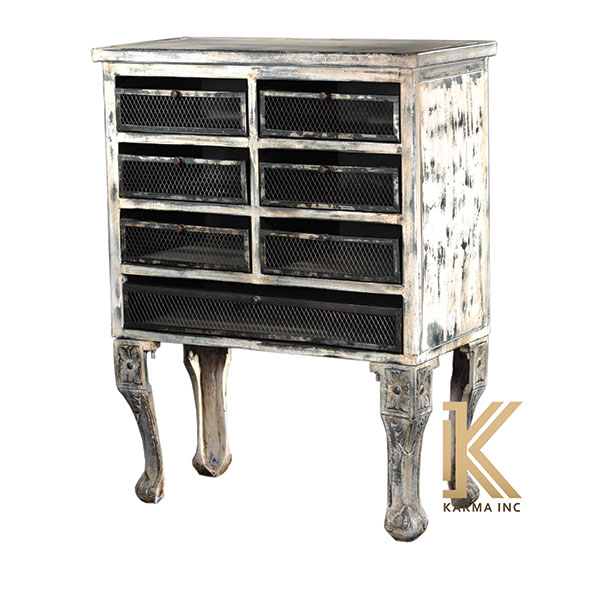 industrial wooden chest in metal jali drawers