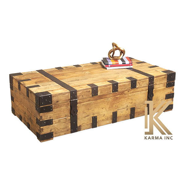 industrial wooden box coffee table