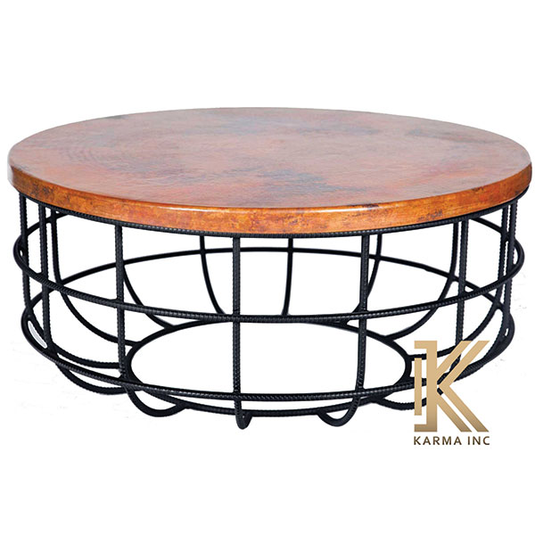 industrial round low table