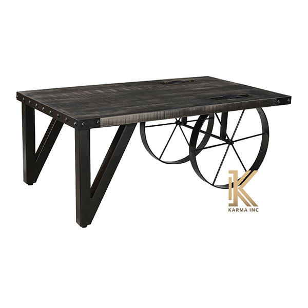 industrial cart style low table