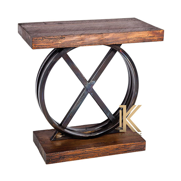 industrial cross console table