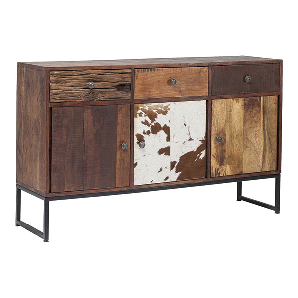industrial sideboard with leather door design