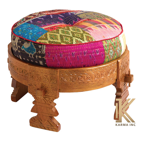 wooden painted low stool