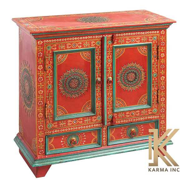 wooden painted mini sideboard