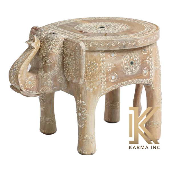 wooden painted elephant stool