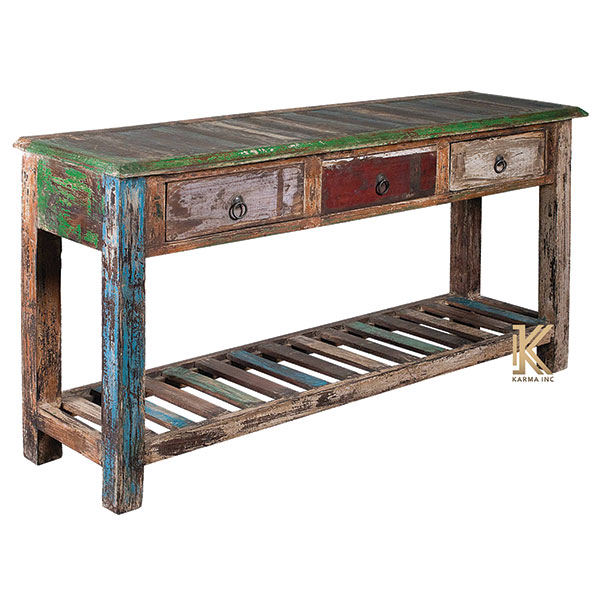 karma inc wooden reclaimed console table