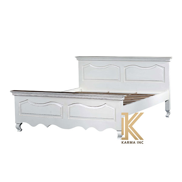 wooden bed white polish