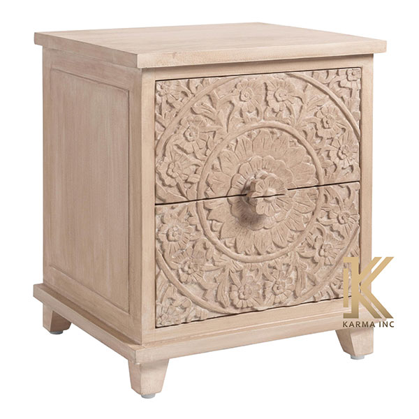mango wood carving bedside