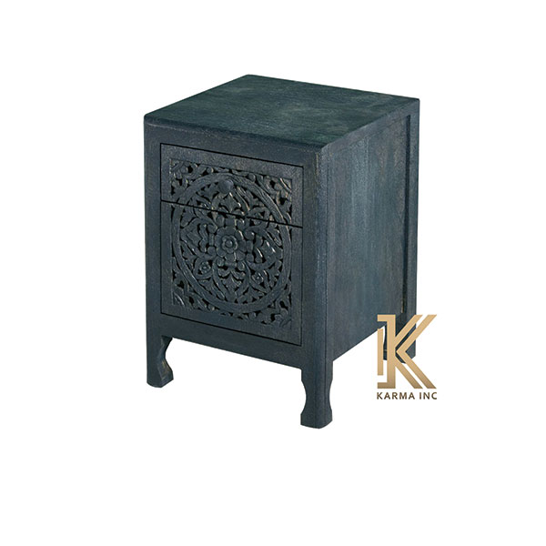 wooden carving bedside black finish