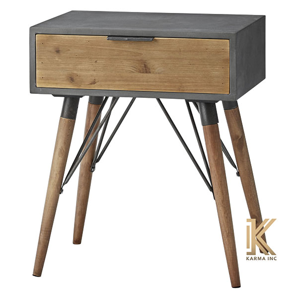 wooden bedside with metal support