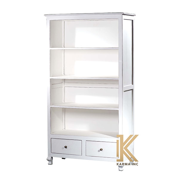 wooden bookcase with white finish polish