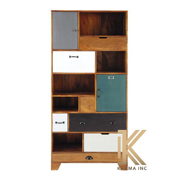 wooden multicolor bookcase