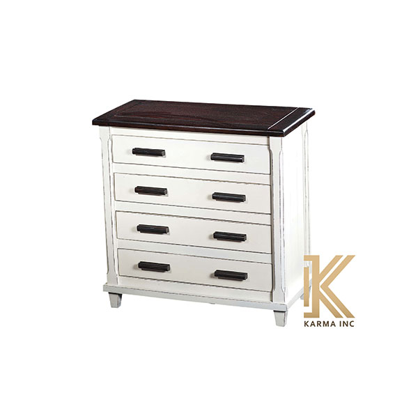 wooden chest in white polish