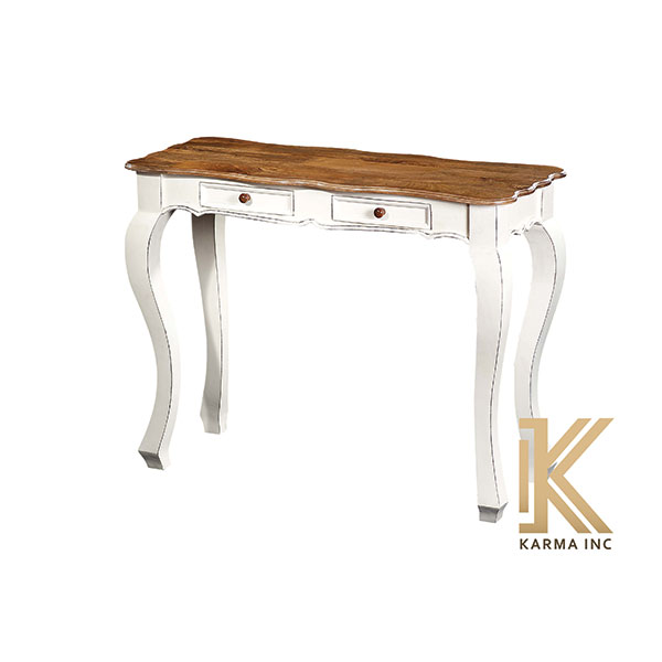 wooden console table in white finish