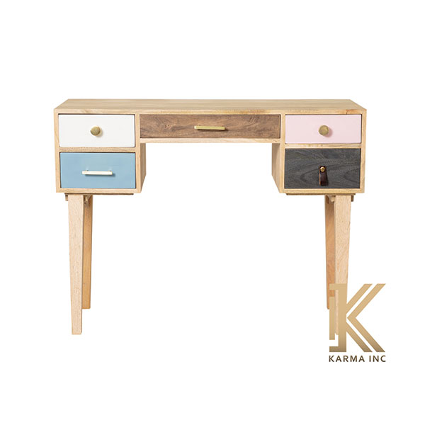wooden desk with 5 drawer