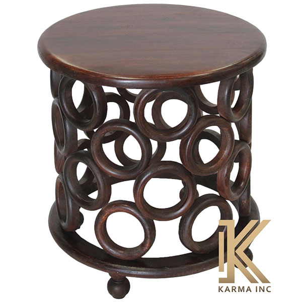 wooden round end table