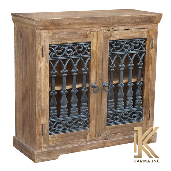 mango wood jali mini sideboard