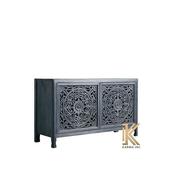 mango wood carving sideboard